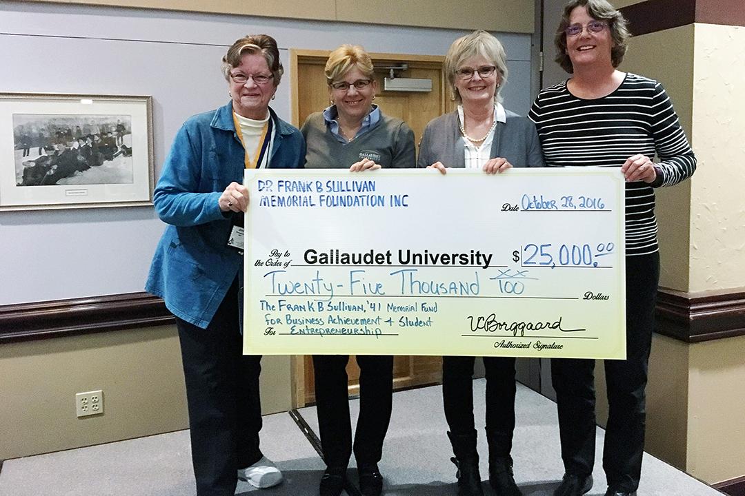 Dr. Frank B. Sullivan Memorial Foundation representatives award funds for student entrepreneurship